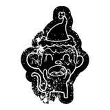 ic?ne afflig?e par bande dessin?e de cri d'un singe utilisant le chapeau de Santa illustration de vecteur