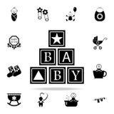 icône alphabétique de cubes Ensemble universel d'icônes de bébé pour le Web et le mobile illustration stock