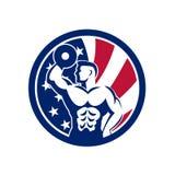 Icône américaine de drapeau des Etats-Unis de gymnase de forme physique Photographie stock libre de droits
