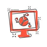 Icône analytique de moniteur dans le style comique Illustration de bande dessinée de vecteur de diagramme sur le fond d'isolement illustration stock