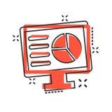 Icône analytique de moniteur dans le style comique Illustration de bande dessinée de vecteur de diagramme sur le fond d'isolement illustration de vecteur