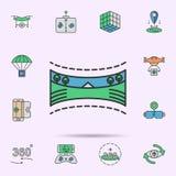 icône 360 au néon colorée par paysage panoramique ?l?ments d'ensemble de r?alit? virtuelle E illustration stock