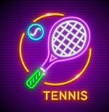 Icône au néon de jeu de tennis avec la raquette et la boule Photographie stock libre de droits