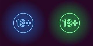 Icône au néon de limite d'âge pour 18 au-dessous de Illustration Libre de Droits