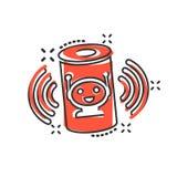 Icône auxiliaire de voix dans le style comique Illustration à la maison futée de bande dessinée de vecteur d'aide sur le fond d'i illustration de vecteur