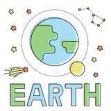 Icône avec la terre et la lune illustration libre de droits
