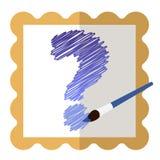 Icône avec un cadre d'or avec un point d'interrogation bleu intérieur et une brosse bleue illustration libre de droits