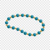 Icône bleue de collier de perle, style de bande dessinée illustration libre de droits