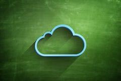 Icône bleue de nuage sur le tableau noir images stock