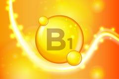 Icône brillante de capsule de pilule d'or de la vitamine B1 Complexe de vitamine avec la formule chimique étincelles d'or d'éclat illustration stock