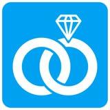 Icône carrée arrondie de trame d'anneaux de mariage de bijoux illustration de vecteur