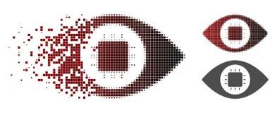 Icône cassée de Dot Halftone Bionic Eye Circuit illustration libre de droits