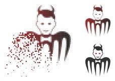 Icône cassée de Dot Halftone Gentleman Spectre Devil illustration stock