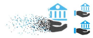 Icône cassée de main de Dot Halftone Bank Building Service illustration stock