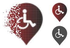 Icône cassée de marqueur de Dot Halftone Disabled Person Parking Illustration Stock