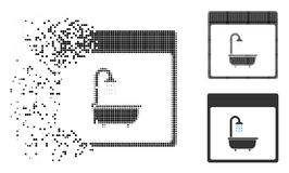 Icône cassée de page de Dot Halftone Shower Bath Calendar illustration libre de droits