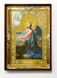 Icône chrétienne en bois sur le fond blanc images libres de droits