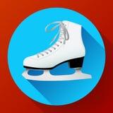 Icône classique blanche de patins de glace sur le bleu illustration libre de droits