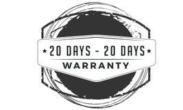 icône classique de conception de garantie de 20 jours rétro illustration stock