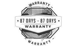 icône classique de conception de garantie de 87 jours rétro illustration stock