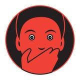 Icône conçue plate d'un homme effrayé illustration stock