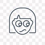 Icône confuse de vecteur d'isolement sur le fond transparent, linéaire illustration libre de droits