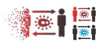 Icône déchiquetée de Dot Halftone Persons Bacteria Exchange illustration libre de droits
