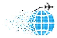 Icône déchiquetée de pixel de vol international illustration libre de droits