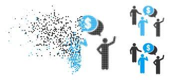 Icône décomposée de Dot Halftone Financial Discussion Group illustration de vecteur