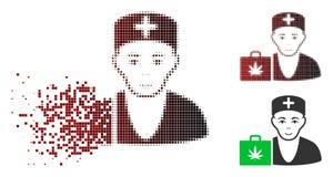 Icône décomposée de Dot Halftone First-Aid Cannabis Doctor illustration libre de droits