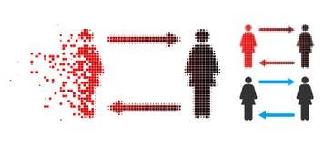 Icône décomposée de Dot Halftone Women Exchange Arrows illustration de vecteur