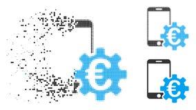 Icône détruite de configuration de Dot Halftone Euro Mobile Bank Illustration Libre de Droits