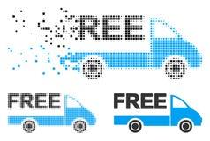 Icône détruite de Dot Halftone Free Delivery Car illustration stock