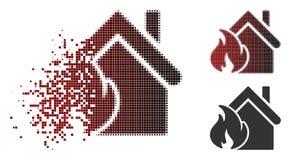 Icône détruite de Dot Halftone Realty Fire Disaster illustration de vecteur