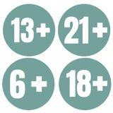 Icône d'âge de limite sur le fond rouge Illustration plate de vecteur de limite d'âge d'icônes Photo stock