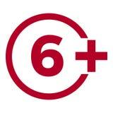 Icône d'âge de limite sur le fond rouge Illustration plate de vecteur de limite d'âge d'icônes Photographie stock libre de droits