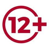 Icône d'âge de limite sur le fond rouge Illustration plate de vecteur de limite d'âge d'icônes Image stock