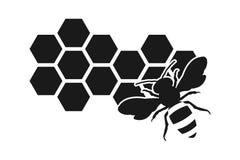 Icône d'abeille ou silhouette, nid d'abeilles Photographie stock libre de droits