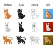Icône d'animaux, domestique, sauvage et autre de Web dans la bande dessinée, noir, contour, style plat Zoo, jouets, enfants, icôn illustration libre de droits