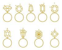 Icône d'anneaux de mariage Signe de bijoux de jeunes mariés Photographie stock