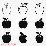 Icône d'Apple dans le style plat à la mode d'isolement sur le fond illustration libre de droits
