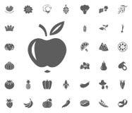 Icône d'Apple Ensemble d'icône d'illustration de vecteur de fruits et légumes symboles de nourriture et de plante illustration stock