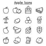Icône d'Apple réglée dans la ligne style mince illustration stock