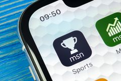 Icône d'application de sports de Microsoft MSN sur le plan rapproché d'écran de l'iPhone X d'Apple Le msn de Microsoft folâtre l' Photographie stock