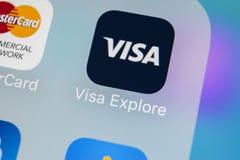Icône d'application de visa sur le plan rapproché d'écran de l'iPhone X d'Apple Icône du visa APP Programme d'application temps r Images libres de droits
