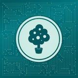 Icône d'arbre sur un fond vert, avec des flèches dans différentes directions Il apparaît sur le conseil électronique illustration libre de droits