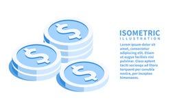 Icône d'argent Calibre isométrique pour le web design dans le style 3D plat Illustration de vecteur images libres de droits