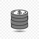 Icône d'argent de pièce de monnaie Images libres de droits