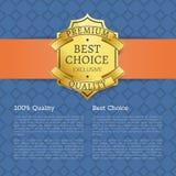 Icône d'or de label de marque de la meilleure qualité du choix 100 Images stock