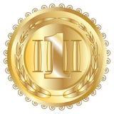 Icône d'or de récompense de joint Médaille vide avec la guirlande de laurier, d'isolement Emblème d'or de conception Symbole d'as images libres de droits